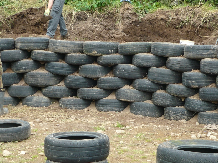 Building with tyres.