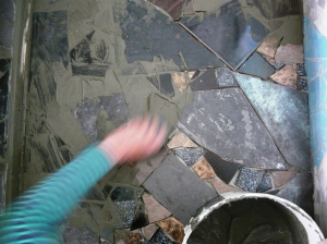 bathroom floor grouting