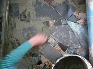 bathroom floor grouting