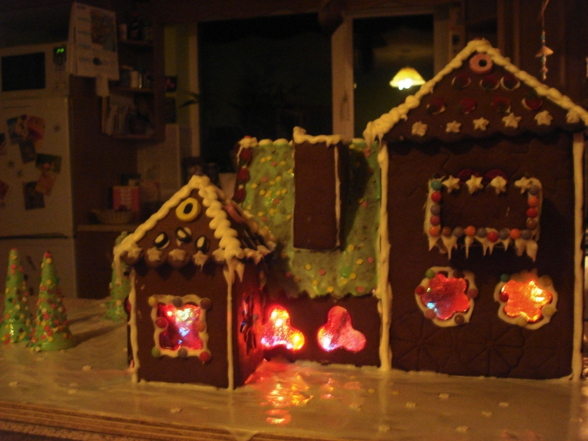 Gingerbread house construction.