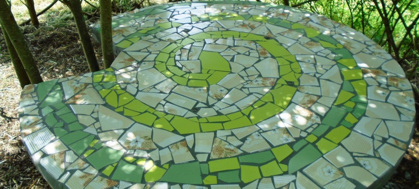 Cable drum mosaic table.