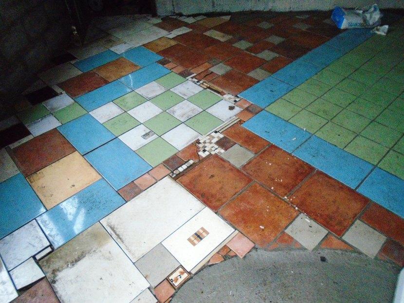 A patchwork floor.