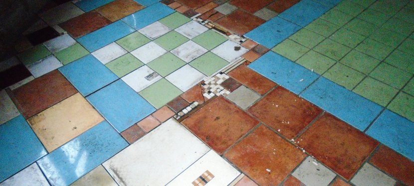 A patchwork floor.